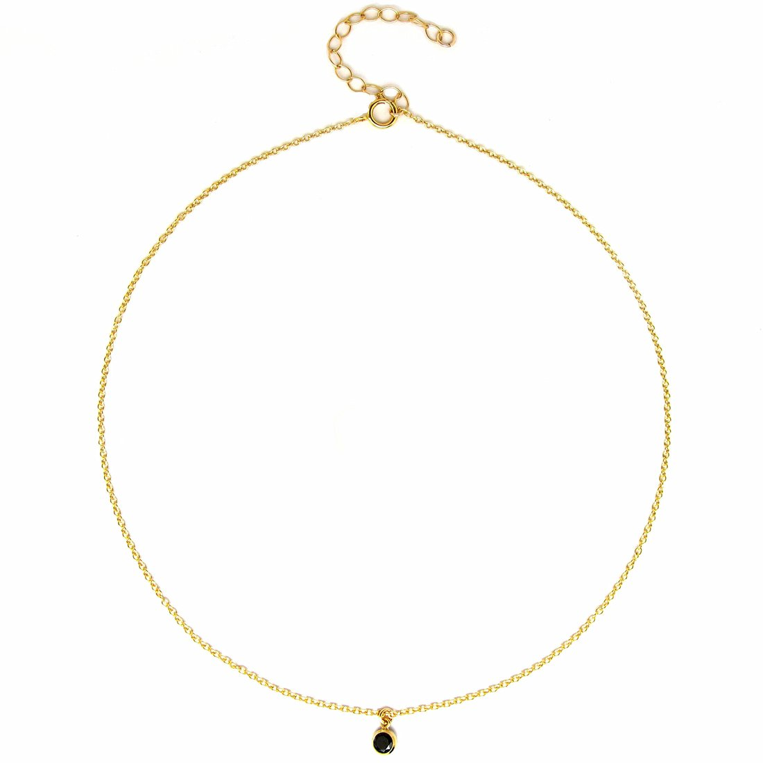 BENIQUE Dainty Necklace Choker for Women - Freshwater Cultured Pearl, Fine Chain for Layering, AAA Cubic Zirconia Drop, 14K Gold Filled, Made in USA, 13''+3'' Adjustable Ext. (Black CZ Drop) by BENIQUE