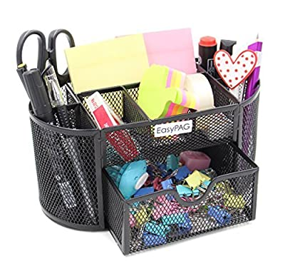 EasyPAG Mesh Desk Organizer 9 Components Desktop Supply Caddy with Drawer