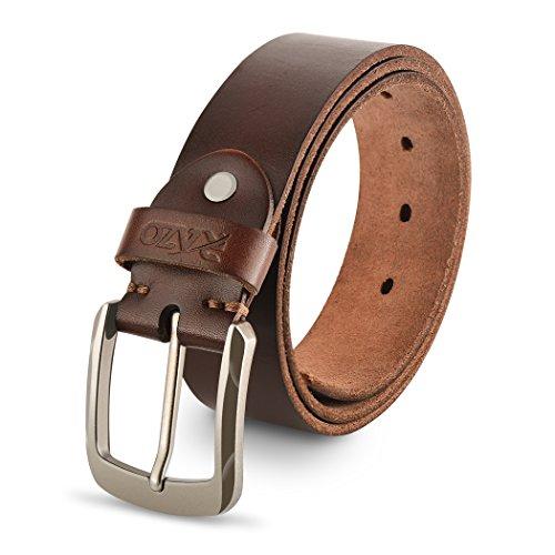 Genuine Leather Belts For Men, 100% Full Grain Fashion Men Belt, With Antique Alloy Buckle.