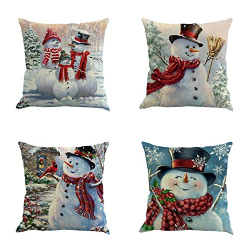 Christmas Snowman Throw Pillow Cover 18 x 18 Inches Set of 4 - Christmas Series Cushion Cover Case Pillow Custom Zippered Square Pillowcase