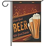 Wamika Oktoberfest Denver Beer Fest Welcome Garden Flags 12 x 18 Double Sided,Cheers Retro Drink Beer Mug Glass Bottle Funny Happy Hour and Drinks Party Outdoor House Yard Flags Banner Home Decor