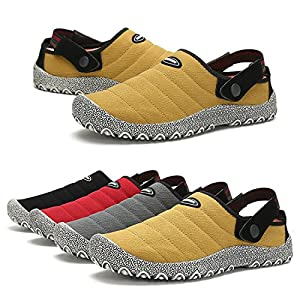 Leaproo Slippers for Mens Canvas Sneakers Women Slip On Low-Top Casual Shoes Clog Mule Indoor Outdoor Walking Sandals for Unisex Yellow-42