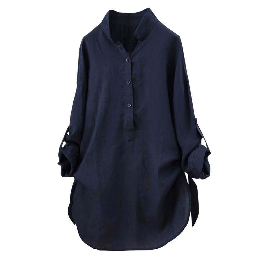 Camicetta Donna Eleganti Maniche Lungo Camicie con Pulsante Loose Tinta Unita Camicia Taglie Forti Top Blusa Maglietta Autunno Invernali, S-5XL, Mambain