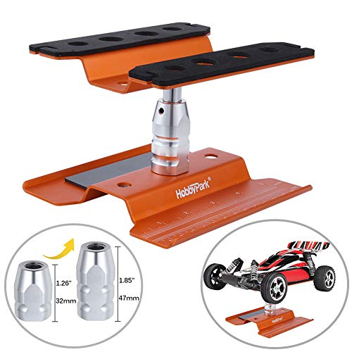 Hobbypark RC Car Work Stand Repair Workstation Aluminum 360 Degree Rotation Lift / Lower for 1/8 1/10 1/12 Truck Buggy On Road Touring Drift(Orange)