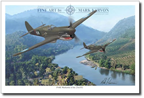 Planejunkie P-40 Warhawks of The 23rd by Mark Karvon - Aviation Art - WWII Flying Tiger ()