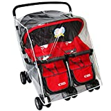 Jiyaru Twin Stroller Rain Cover Universal Buggy Waterproof Wind Dust Shield