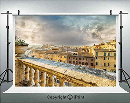 Italian Decor Photography Backdrops Panoramic View of Historic Center of Rome from Ancient Balcony Aerial,Birthday Party Background Customized Microfiber Photo Studio Props,10x6.5ft,Yellow Light Brown