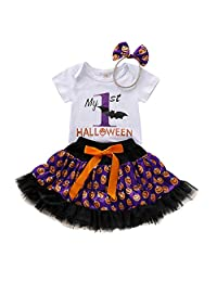 DRAGONHOO Kids Baby Girls Halloween Letter Romper Pumpkin Print Skirts Hairband Outfits Girl Toddler Clothes