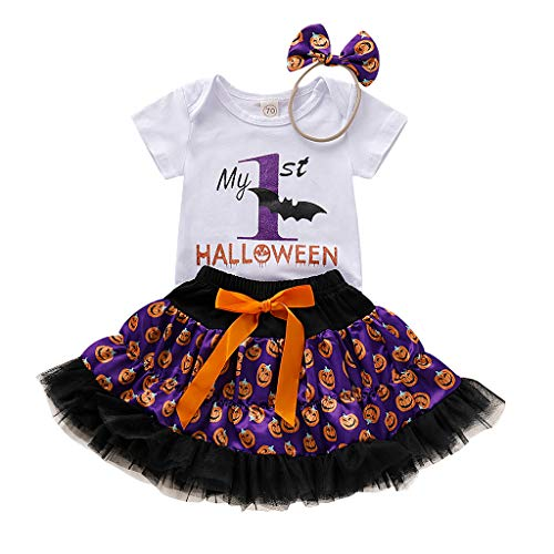 Jialili Baby Girls Newborn Halloween Cloth Cartoon Pumpkin T Shirt Skirts Set+ Hairband (80,White)