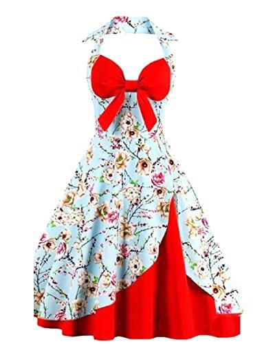 Coolred-femmes Grand Ourlet Licol Imprimé Hepburn Mini Robe Evenning Rouge