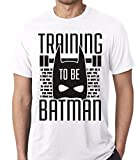 Raw T-Shirt's Training To Be Batman - Super Hero Workout Men's T-Shirt (Medium, White)