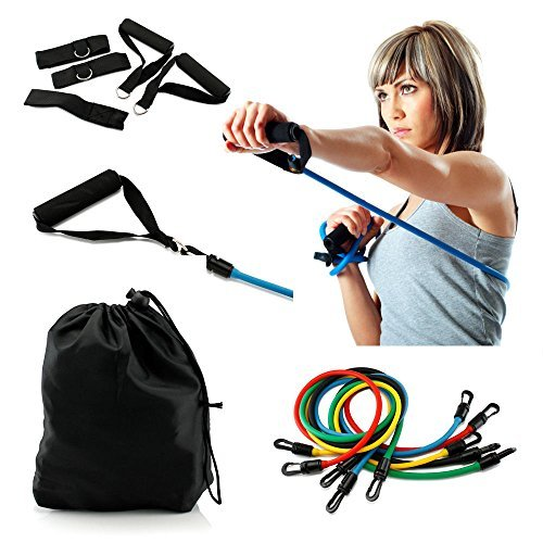 Bespolitan Set of 5 Ultimate Resistance Bands Fitness Set (11-Piece) by BESPOLITAN INC.