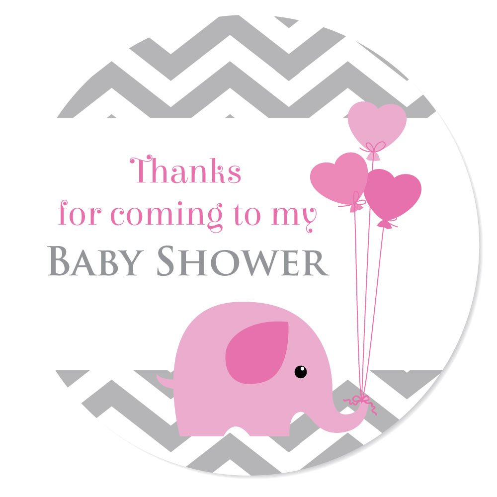 'Thank you for coming to my baby shower' stickers - 30mm in diameter, 'baby elephant', for party bags, Blue, Pink or Yellow (Yellow) 'baby elephant' StickerZone