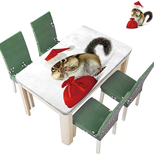 (Polyester Fabric Tablecloth Chipmunk in red Santa Claus hat and Bag with Gifts on White Background Suitable for Home use 54 x 102 Inch (Elastic Edge))