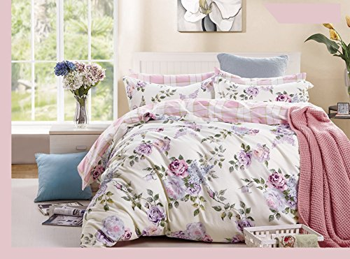 Swanson Beddings Pink-purple Roses 5-Piece 100% Cotton Bedding Set: Duvet Cover, Two Pillowcases and Two Pillow Shams (King) (Duvet Rose Cover Pink)