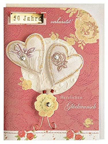 Glückwunschkarte Goldene Hochzeit 50 Hochzeitstag Herzen
