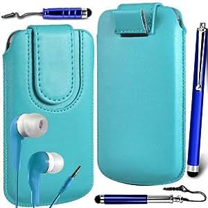 N4U Online Premium PU tirón del cuero del tirón del caso Tab cubierta de bolsa Con magnética Cierre de correa, Auricular Auriculares y 3 Pack Bundle Stylus para Samsung Galaxy Mini 2 S6500 - Azul Bebé