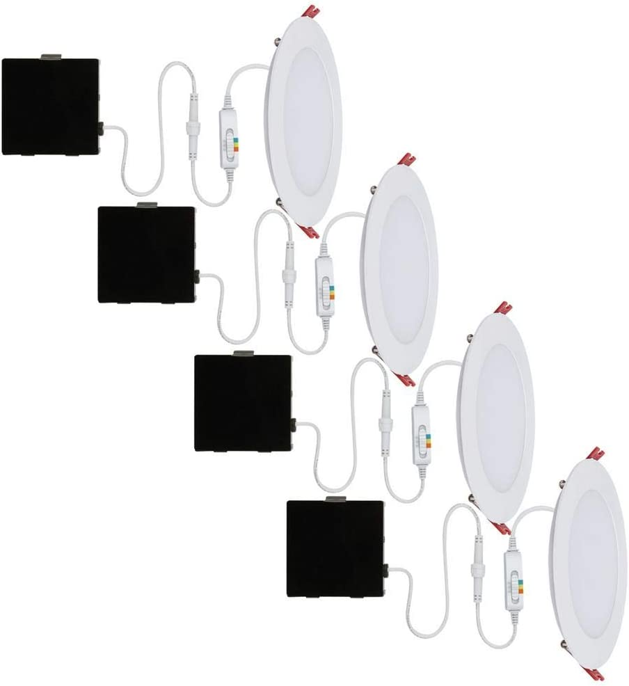 Commercial Electric Ultra Slim 6 In Color Selectable Canless Led Recessed Kit 4 Pack