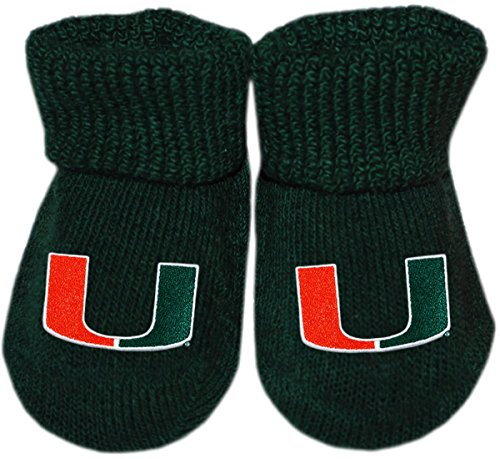 - University of Miami UM Hurricanes Newborn Baby Bootie Sock