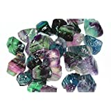 Besthk 1lb Rainbow Fluorite Rough Raw Natural Crystals for Cabbing, Cutting, Lapidary, Tumbling, Polishing, Wire Wrapping, Wicca and Reiki Crystal Healing