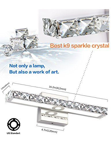 Review LED Vanity Lights,SOLFART Crystal