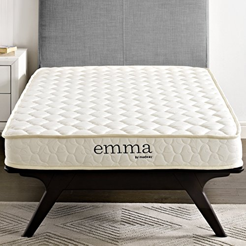 "Modway Emma 6"" Twin Foam Mattress - Firm Mattress For Guest Or Kid Room - 10-Year Warranty (Twin Bed Room In Living)"