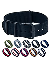 Nato Strap 18mm 20mm 22mm Premium Ballistic Nylon Swiss Army Watch Band Replacement Black Stainless Steel Buckle with Top Spring Bar Tool and 4 Spring Bars (Black, 20mm)