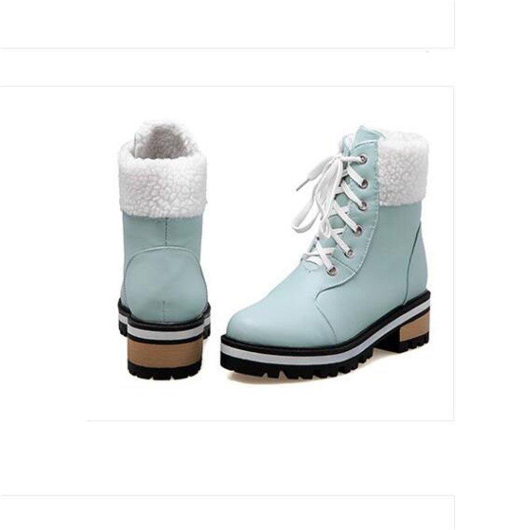 ZQ@QX Herbst und Winter runden Kopf mit Fett, Fett, mit mit wilden Band Stiefel Studentinnen. Blau b6422e