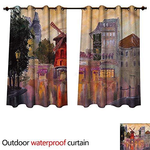cobeDecor European Outdoor Curtains for Patio Sheer Moulin Rouge in Paris City W63 x L63(160cm x 160cm)