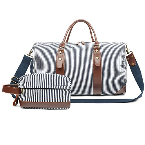 Bag Canvas Leather Weekender Overnight Travel Carry On Tote Bag with Shoe Compartment and Toiletry Bag (Blue/White Striped) ()