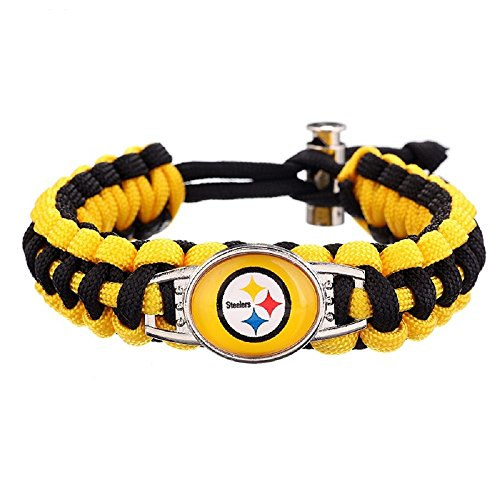 Swamp Fox Premium Style Pittsburgh Steelers Adjustable Paracord Survival Bracelet (Steelers Paracord)