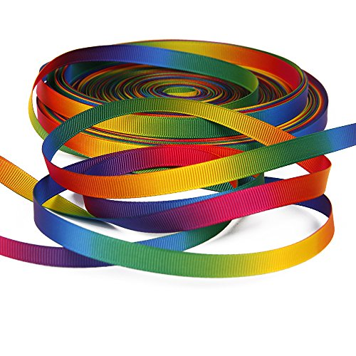 Rainbow Grosgrain Ribbon Gradient Rainbow Color Double Side Colorful Printed 50yd A Roll 3/8