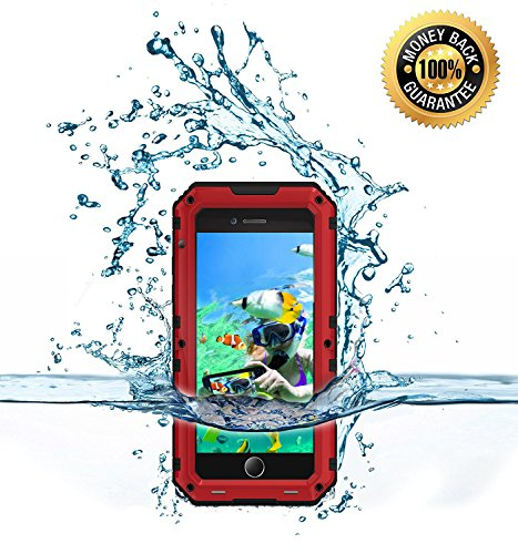 Price comparison product image iPhone 7 plus Water Proof Bumper Case, Myckuu [X-sports Series] Super Anti-crash Fullbody Hermetic Screwed Metal Shell for Sports Enthusiast like Diving,Surfing,Skiing,Climbing,Skateboarding