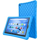 Soft Silicone Case Protector for All-New Amazon Fire HD 10 Tablet (7th Generation, 2017 Release)- [Rhombus Series] Shockproof Silicone Back Cover [Kids Friendly] for Fire HD 10.1 Inches Blue