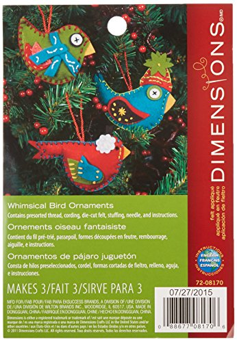 Felt Bird - Dimensions Whimsical Bird Wool Felt Applique Ornaments Kit, 3 pcs