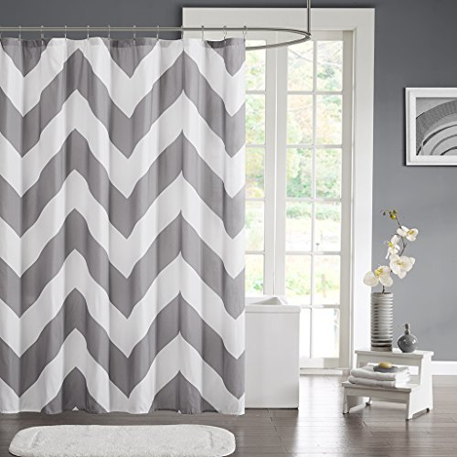 Mi-Zone MZ70-343 Libra Shower Curtain 72x72 Grey (Mizone Shower Curtain)