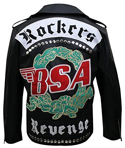 Michael Faith Rockers Revenge Biker Black Leather Jacket ()