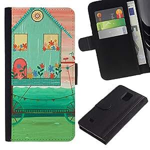 UberTech / Samsung Galaxy Note 4 SM-N910 / House Abstract Teal Pink Art Hipster / Cuero PU Delgado caso Billetera cubierta Shell Armor Funda Case Cover Wallet Credit Card