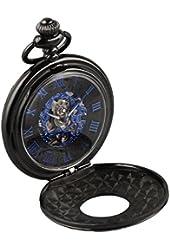 Alienwork Retro mechanical Pocket Watch Skeleton Hand-wind engraved Metal blue black W891B-01