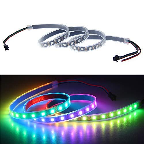 ALITOVE 3.2ft 60 Pixels WS2812B WS2811 Individual Addressable 5050 RGB LED Strip Dream Color Flexible Pixel Rope Light Waterproof 5V Black PCB for Arduino Raspberry Pi Fadecandy Project