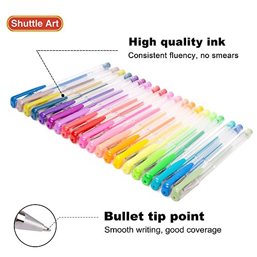 Large Product Image of Shuttle Art 80 Colors Glitter Gel Pens, 40 Colors Glitter Gel Pen Set with 40 Refills for Adult Coloring Books Craft Doodling