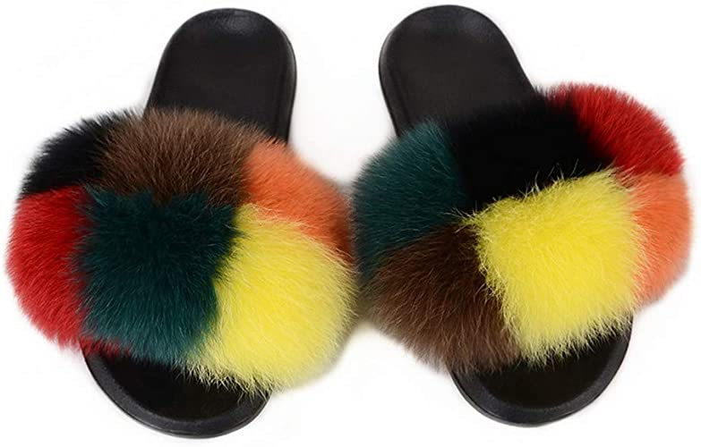 Women Real Raccoon Fur Slipers Outdoor Slides Slip On Sandals Multicolor US 11