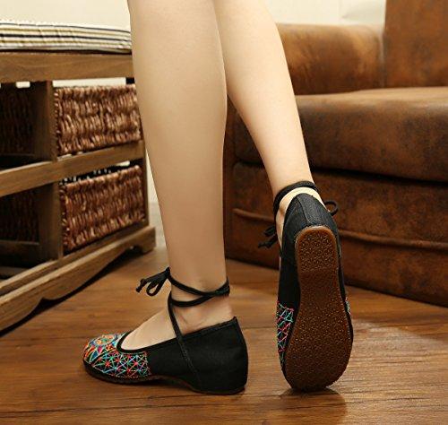 &QQ Zapatos bordados, lenguado de tendón, estilo étnico, hembrashoes, moda, sandalias cómodas Black