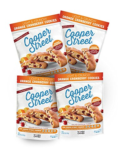 - Cooper Street Cookies, Orange Cranberry Cookies, Pack of 4 (5oz Bags), Twice-Baked Cookies, Dairy-Free, Nut-Free, Soy-Free, Low Calorie Gourmet, Old-Fashioned Biscotti Cookies