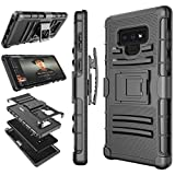 #8: Tekcoo for Galaxy Note 9 Case, Tekcoo for Samsung Note 9 Holster Clip, [Hoplite] Shock Absorbing [Black] Secure Swivel Locking Belt Defender Full Body Kickstand Carrying Armor Cases Cover