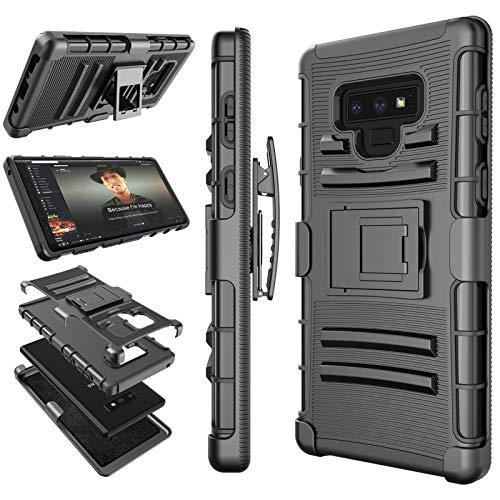 Tekcoo for Galaxy Note 9 Case, Tekcoo for Samsung Note 9 Holster Clip, [Hoplite] Shock Absorbing [Black] Secure Swivel Locking Belt Defender Full Body Kickstand Carrying Armor Cases Cover