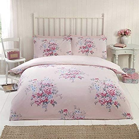 top fashion 9a254 4234c floreale rose fiori pois rosa cotone spazzolato copripiumino ...