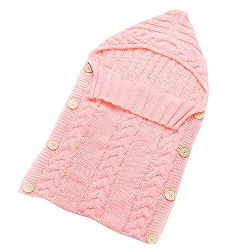 Baby Blankets Swaddle Wrap Wood Button Knitting Sleeping Bag Envelope - Pink