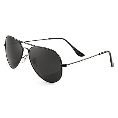 c95b1fa452 GREY JACK Polarized Classic Aviator Sunglasses Military Style for Men Women  Black Frame Black Lens Medium  Amazon.co.uk  Clothing