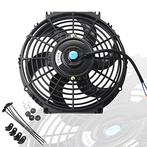 MOSTPLUS Black Universal Electric Radiator Slim Fan Push/Pull 12V + Mounting Kit (10 Inch)